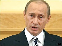 Russian President Vladimir Putin gives his address
