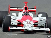 Helio Castroneves competing in the Indy 300 event in Japan