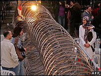 Barbed wire fence to separate political groups in Beirut