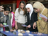 Queen Rania of Jordan (centre) at the museum