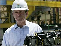 US President George W Bush with a biofuel engine