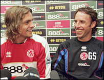 Boro defender Jonathan Woodgate and manager Gareth Southgate