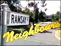 love thy neighbour neighbours logo street sign ramsay street