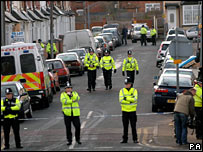 Police during counter-terrorism operation in Birmingham