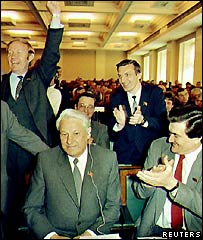 Boris Yeltsin and supporters in 1990