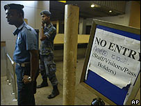 Colombo international airport after a bombing by the Tamil Tigers (March 2007)