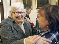 Sen Martha Fuller Clark (left) celebrates with Rep Suzanne Harvey after New Hampshire's vote