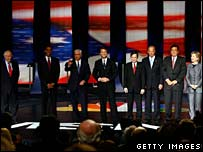 Democratic candidates at the South Carolina debate