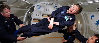 Hawking on plane (AP)