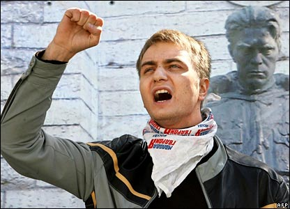 A pro-Russian activist protests outside the Estonian embassy in Moscow on 26 April 2007