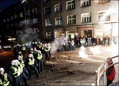 Police face protesters in Tallinn