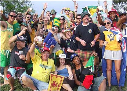 Jennifer Allan's photo shows Australian and Scottish fans enjoying the party stand atmosphere
