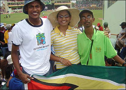 Marlyn Hussein's photo shows her friends Victor, Saudi and Hari at Guyana's National Stadium watching West Indies v Sri Lanka