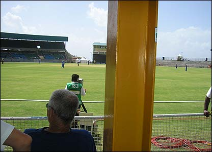 Kenny Cordice's photo shows his view from the Category 1 seat at the World Cup warm-up match in St Vincent and the Grenadines