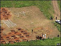 Vista aérea de los trabajos de excavación en Mapiripán