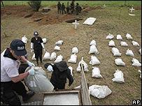 Vista de los trabajos de excavación en Mapiripán