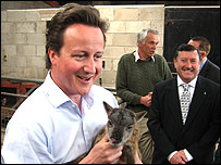 David Cameron at the Amelia Trust farm, Vale of Glamorgan