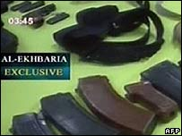 TV picture of captured weapons