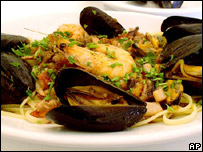 A plate of seafood pasta