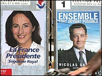 Posters of Segolene Royal and Nicolas Sarkozy