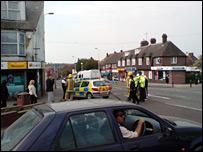 Police assess damage in Folkestone, Kent