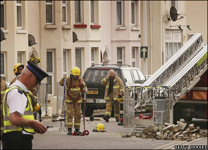 Firemen in Folkestone after an earthquake
