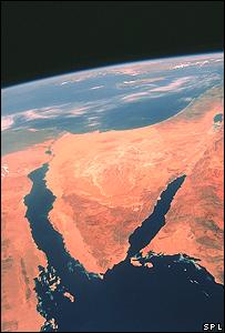 صورة بالأقمار الصناعية لشبه جزيرة سيناء