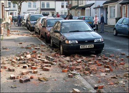 Aftermath of quake in Folkestone, Kent