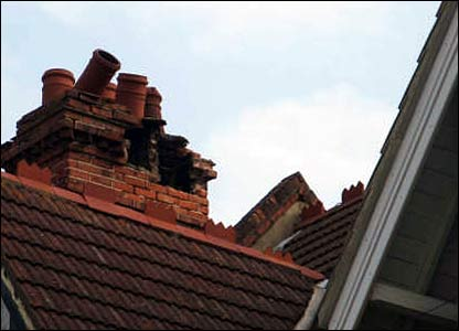Damaged chimney stack in Folkestone
