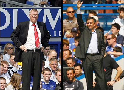 Alex Ferguson and Jose Mourinho urge their players on from the touchline