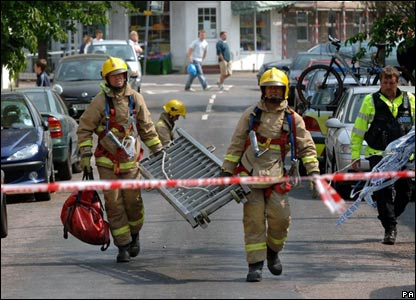 Firefighters in street in Folkestone, Kent