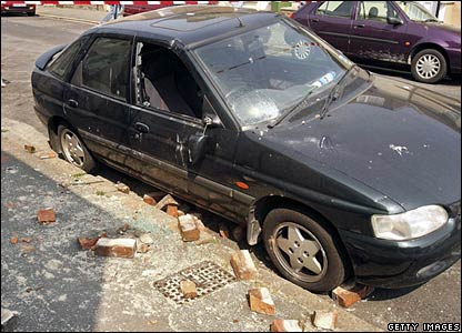 Damaged car in Folkestone, Kent