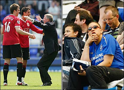 Alex Ferguson celebrates with Michael Carrick and Cristiano Ronaldo as Chelsea fans look despondant