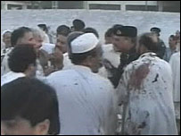 Men at the scene of the bombing