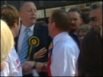 Labour's Tom McCabe in an angry scuffle with an SNP activist