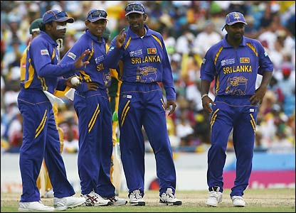 Sri Lanka's players consider how they will try and break the opening pair