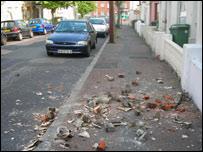 Fallen masonry on street