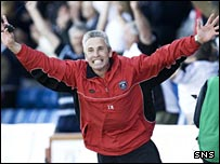 David Irons celebrates Gretna's triumph