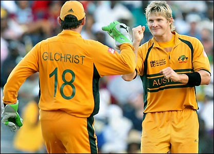 Gilchrist congratulates Shane Watson on his wicket