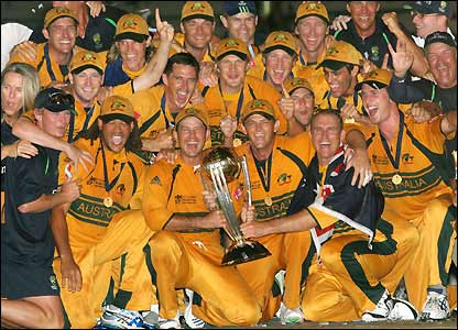 Australia's players celebrate World Cup success