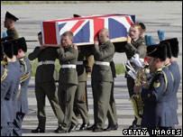 The coffin containing Royal Marine Joseph David Windall