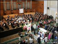 Прощание с Ростроповичем в Большом зале московской консерватории