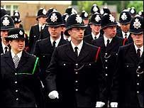 Police graduates in full uniform