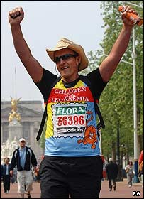 Greg Billingham finishes the London Marathon