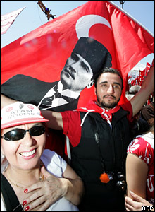 Man with Turkish flag and Ataturk portrait
