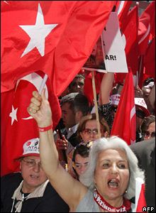 Woman holds up flag amid protesters