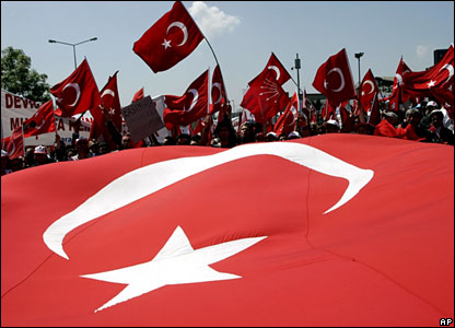 Turkish flag at Istanbul rally