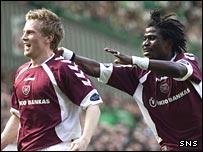Andrew Driver (left) celebrates with Laryea Kingston