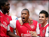 Arsenal celebrate Julio Baptista's goal