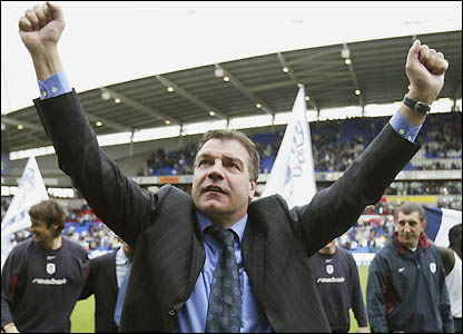 Allardyce celebrates after the win over Middlesbrough
